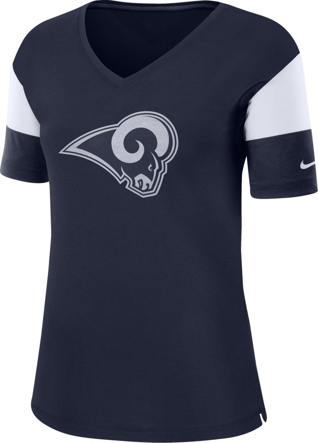 d49596a0 Nike Women's Los Angeles Rams Breathe Navy V-Neck T-Shirt