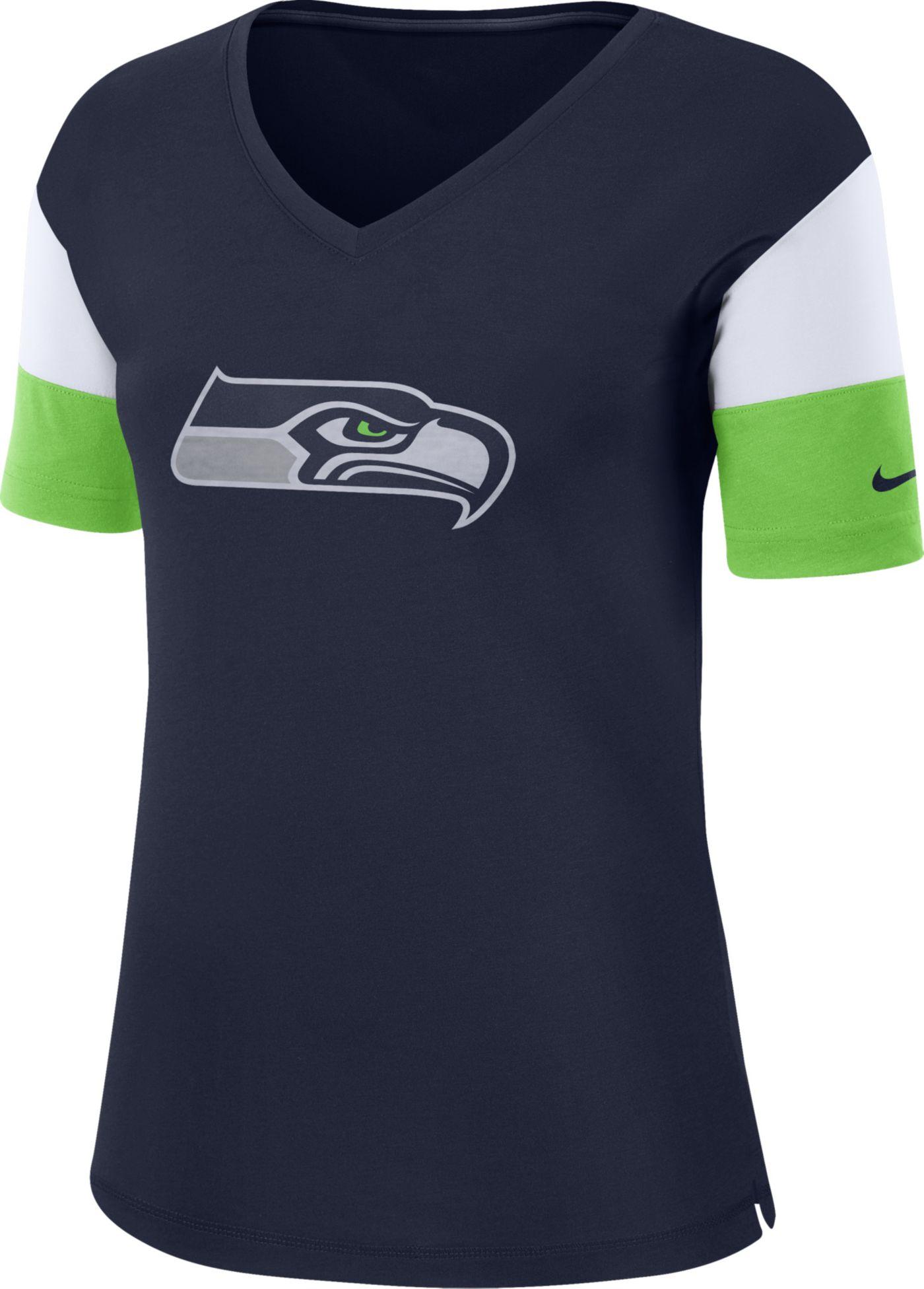 Nike Women's Seattle Seahawks Breathe Navy V-Neck T-Shirt