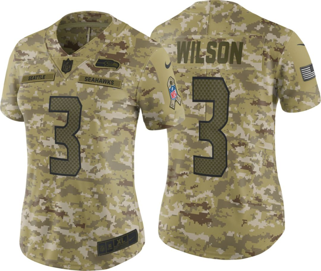607fdb65 Nike Women's Salute to Service Seattle Seahawks Russell Wilson #3 Limited  Camouflage Jersey