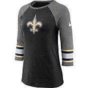 Nike Women's New Orleans Saints Stripe Tri-Blend Black Raglan T-Shirt