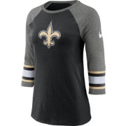 Nike Women's New Orleans Saints Stripe Tri-Blend Black Raglan T-Shirt