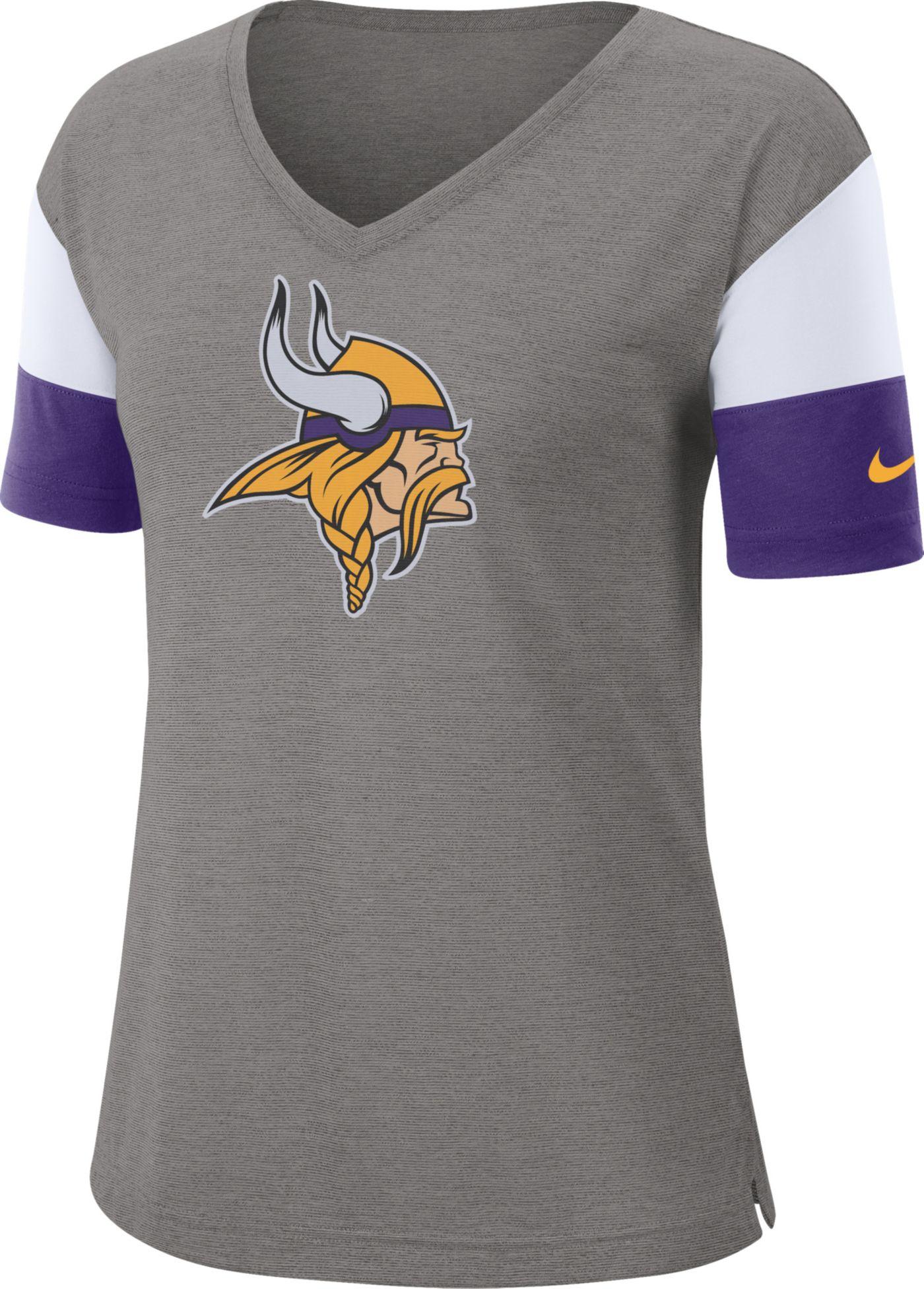 Nike Women's Minnesota Vikings Breathe Heather Grey V-Neck T-Shirt