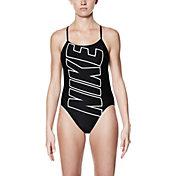 Nike Women's Performance Logo V-Back Swimsuit
