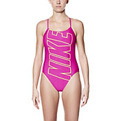 Nike Women's Performance Logo V-Back Swimsuit