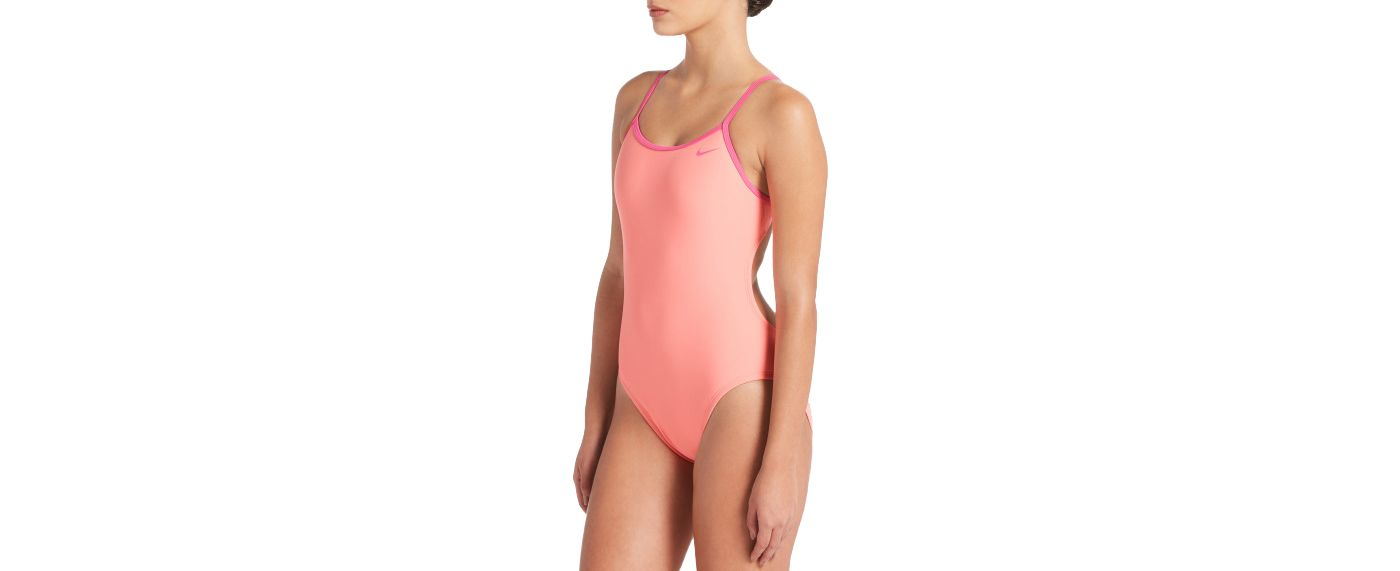 Nike Women's Solid Crossback Cutout One Piece Swimsuit