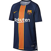 Nike Youth FC Barcelona Black/Navy Prematch Top