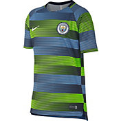 Nike Youth Manchester City Striped Prematch Top