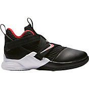 6a14f22f9b76 Product Image · Nike Kids  Preschool LeBron Soldier XII Basketball Shoes in  Black University Red