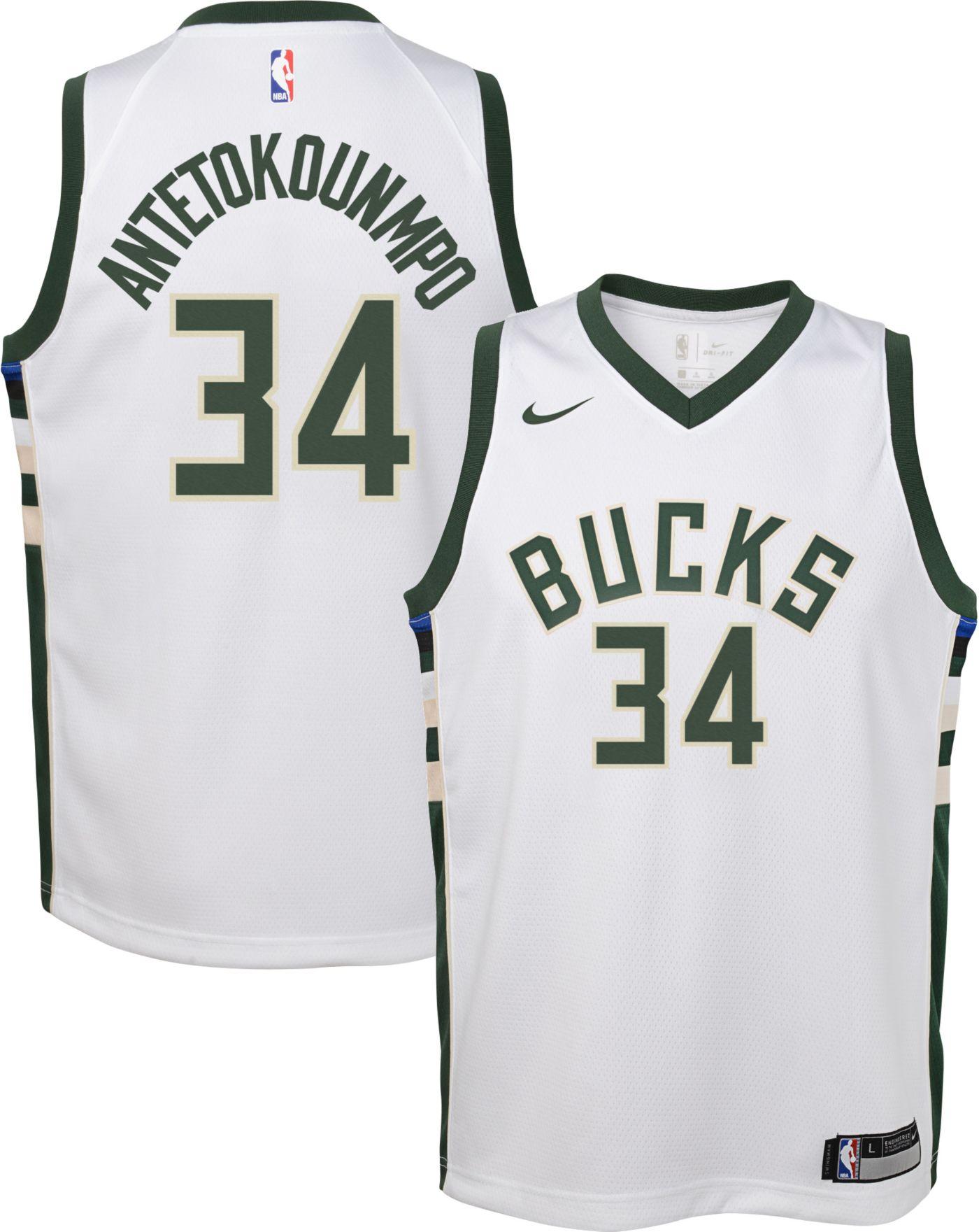 Nike Youth Milwaukee Bucks Giannis Antetokounmpo #34 White Dri-FIT Swingman Jersey