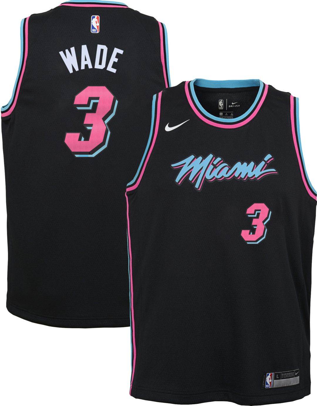free shipping 473f3 24dea Nike Youth Miami Heat Dwyane Wade Dri-FIT City Edition Swingman Jersey