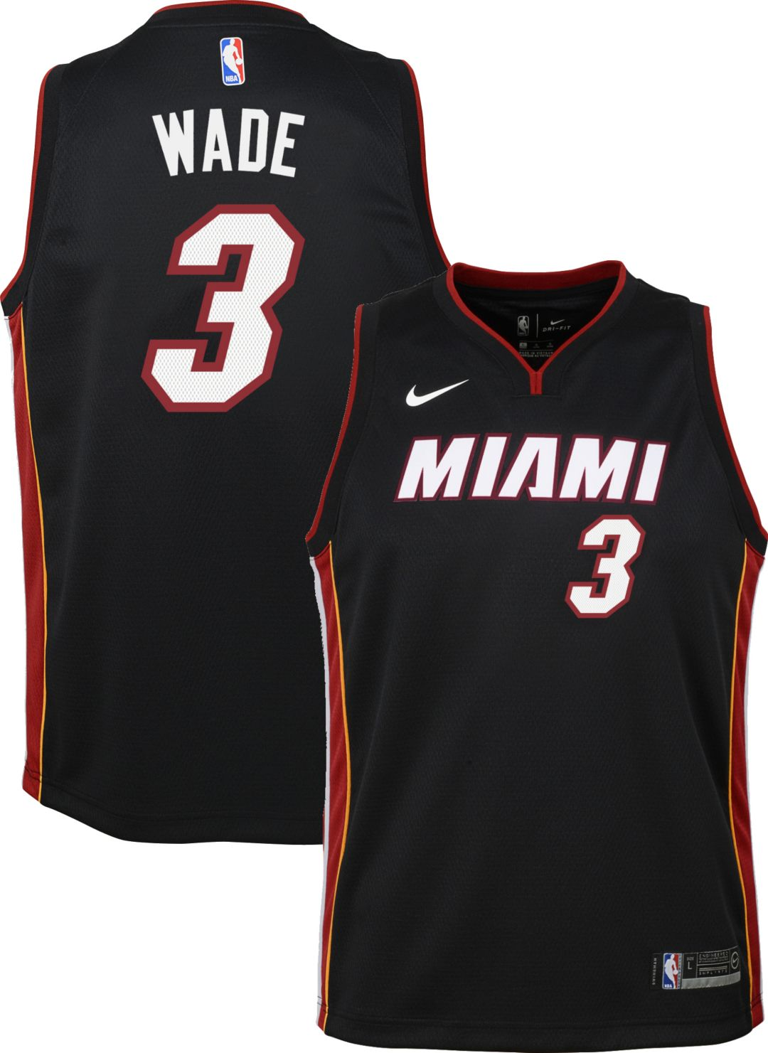low priced a1067 32a53 Nike Youth Miami Heat Dwyane Wade #3 Black Dri-FIT Swingman Jersey