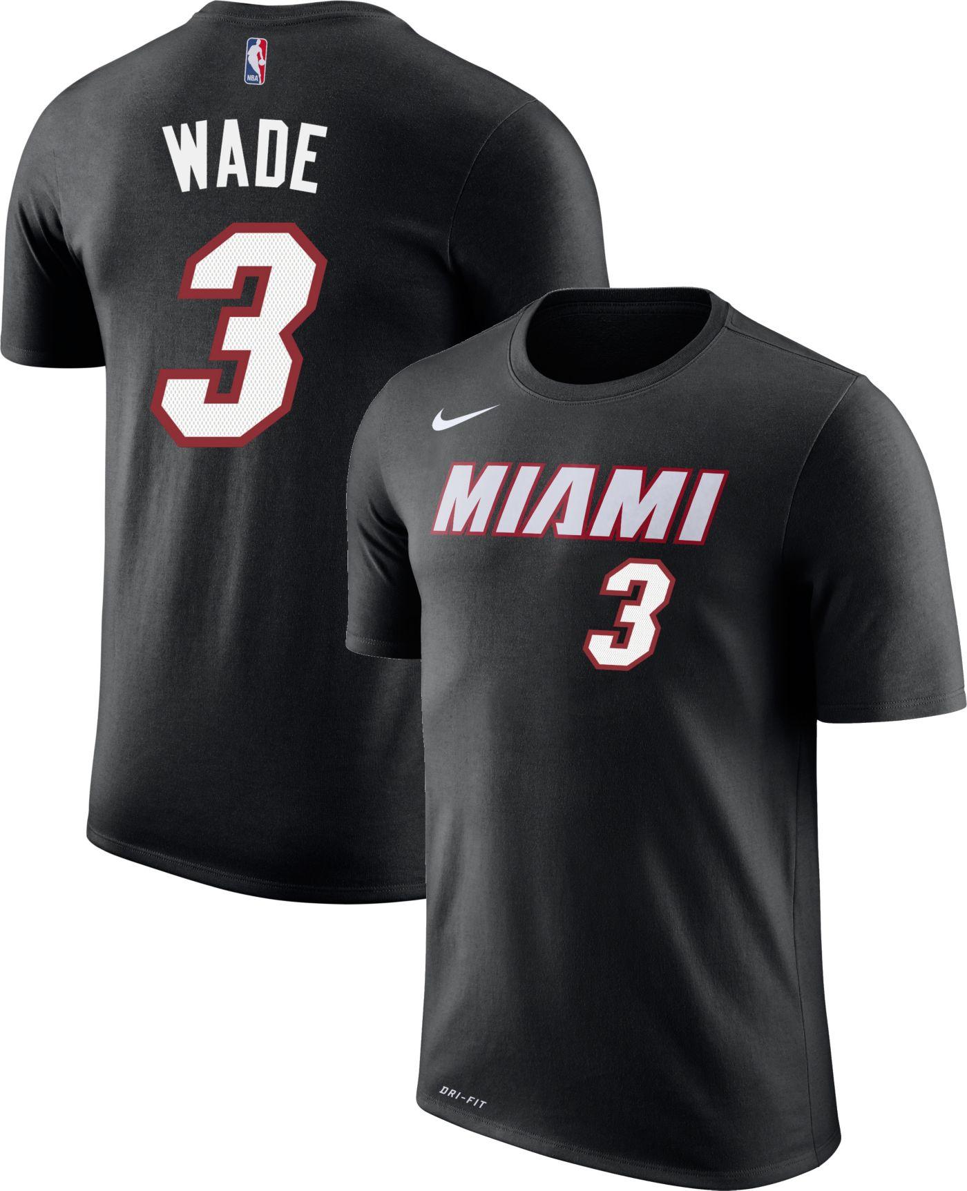Nike Youth Miami Heat Dwyane Wade #3 Dri-FIT Black T-Shirt