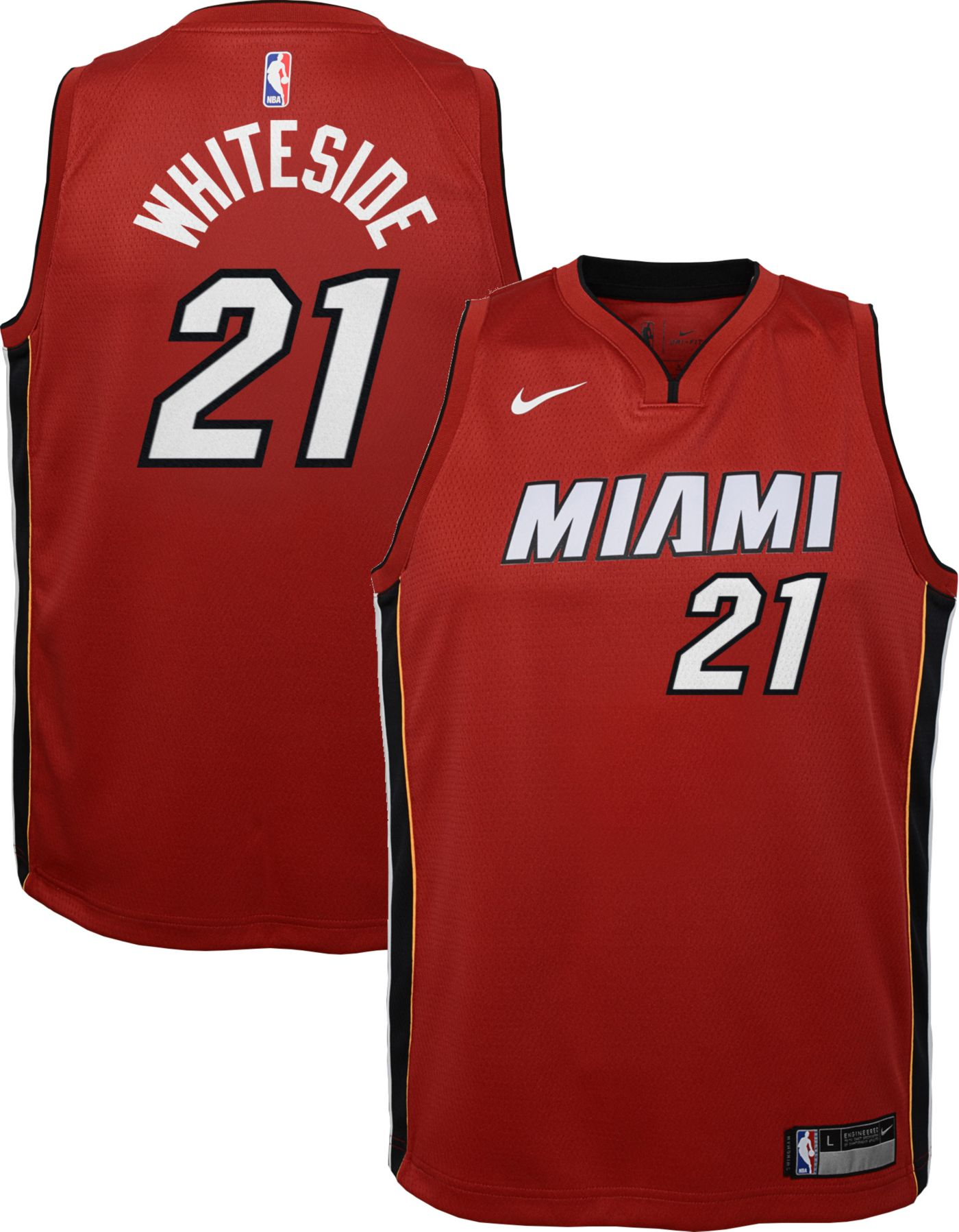 Nike Youth Miami Heat Hassan Whiteside #21 Red Dri-FIT Statement Swingman Jersey
