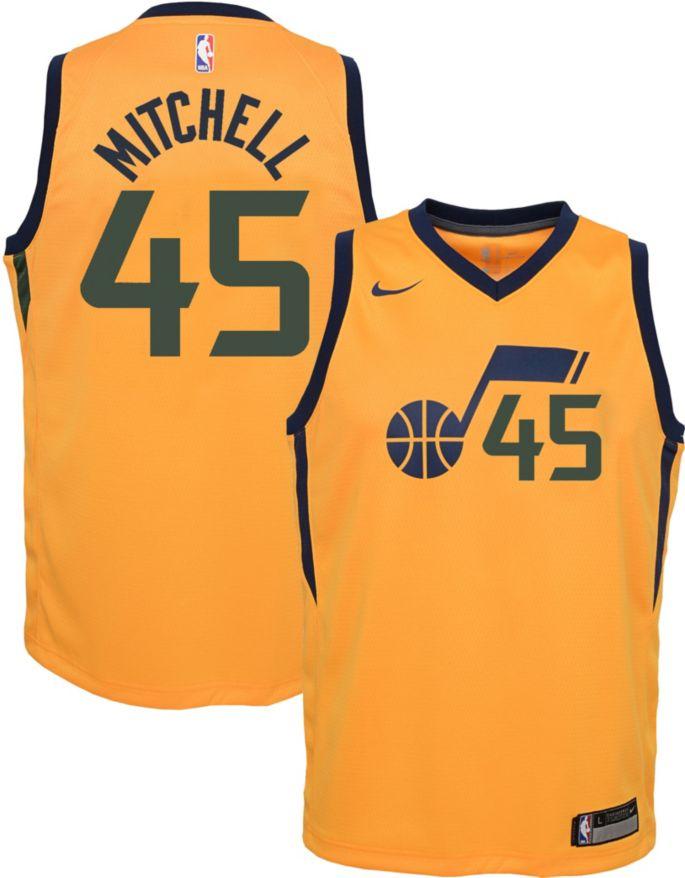 buy online 695bf 6d146 Nike Youth Utah Jazz Donovan Mitchell #45 Gold Dri-FIT Swingman Jersey