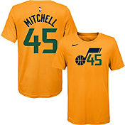 Nike Youth Utah Jazz Donovan Mitchell #45 Dri-FIT Gold T-Shirt