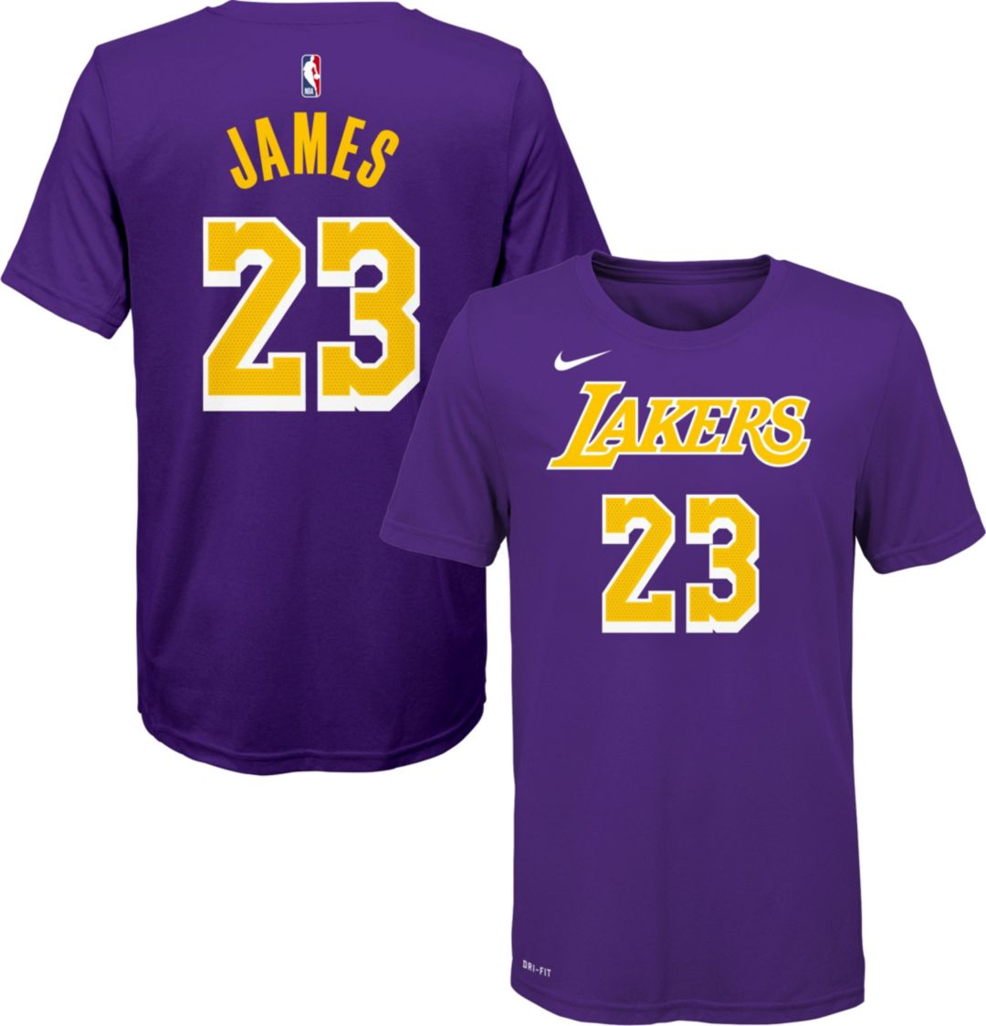 super popular 4c9b4 3f80b Nike Boys' Los Angeles Lakers LeBron James #23 Dri-FIT Purple T-Shirt