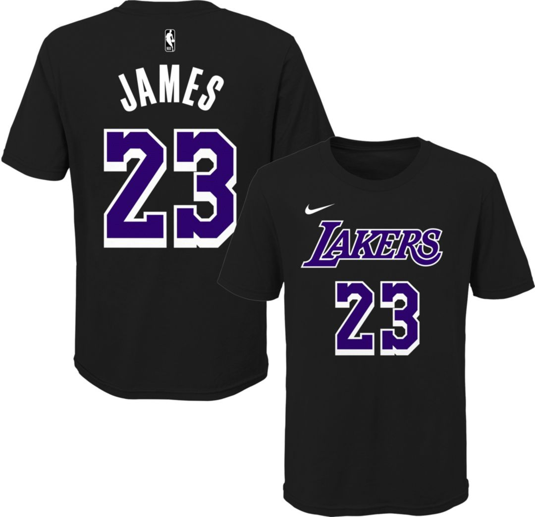 separation shoes 98561 09fe8 Nike Youth Los Angeles Lakers LeBron James Dri-FIT Black T-Shirt