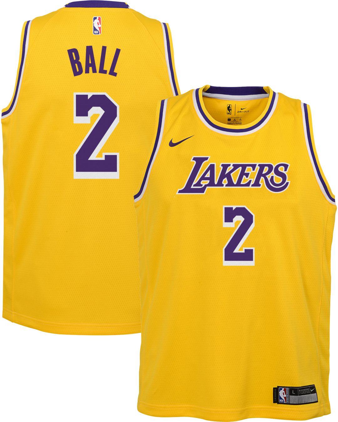0bd6f754c Nike Youth Los Angeles Lakers Lonzo Ball  2 Gold Dri-FIT Swingman Jersey 1