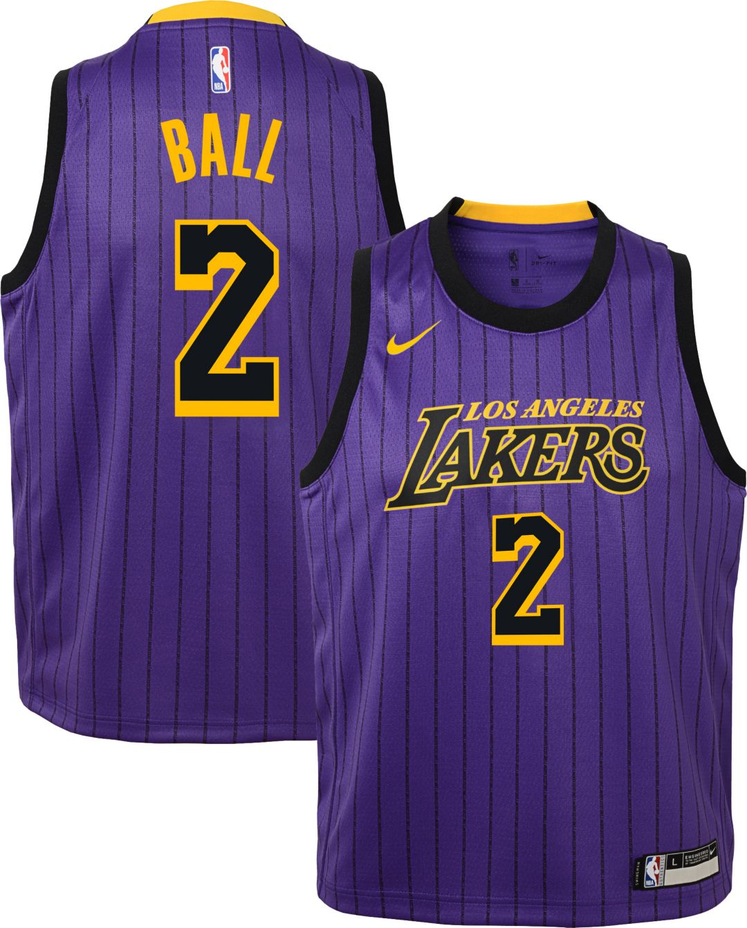 size 40 6c64e f016b Nike Youth Los Angeles Lakers Lonzo Ball Dri-FIT City Edition Swingman  Jersey