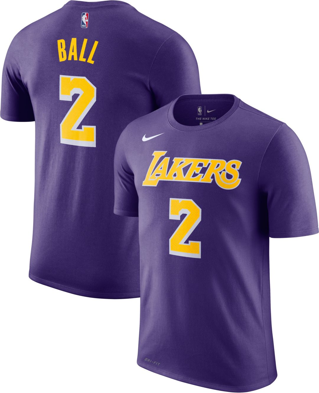 cce20a8f94a Nike Youth Los Angeles Lakers Lonzo Ball #2 Dri-FIT Purple T-Shirt ...