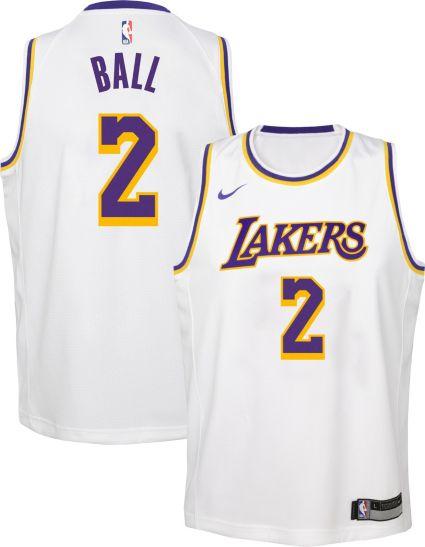 Nike Youth Los Angeles Lakers Lonzo Ball  2 White Dri-FIT Swingman Jersey.  noImageFound 994893e0b