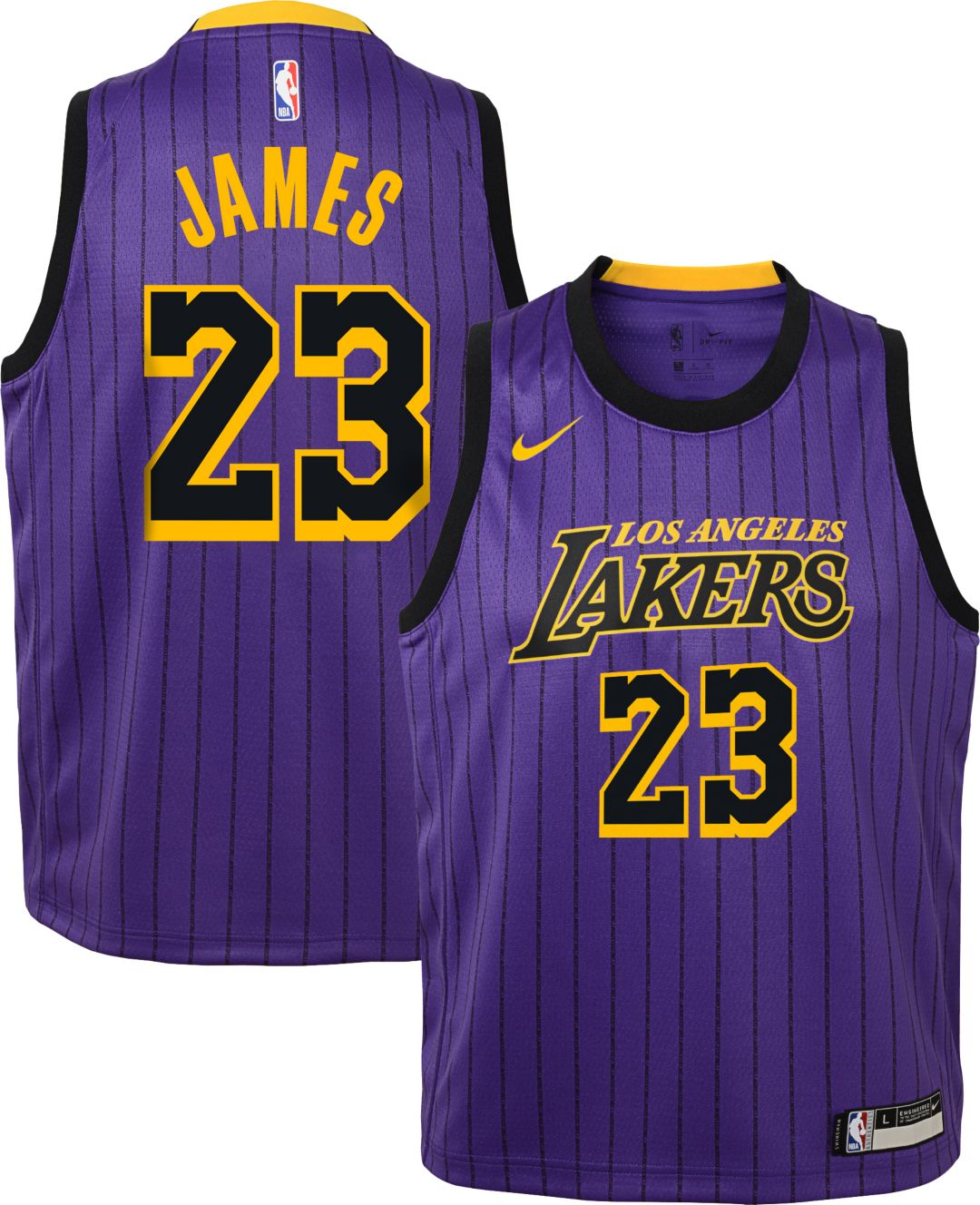 size 40 4a1fb 90ca5 Nike Youth Los Angeles Lakers LeBron James Dri-FIT Purple City Edition  Swingman Jersey