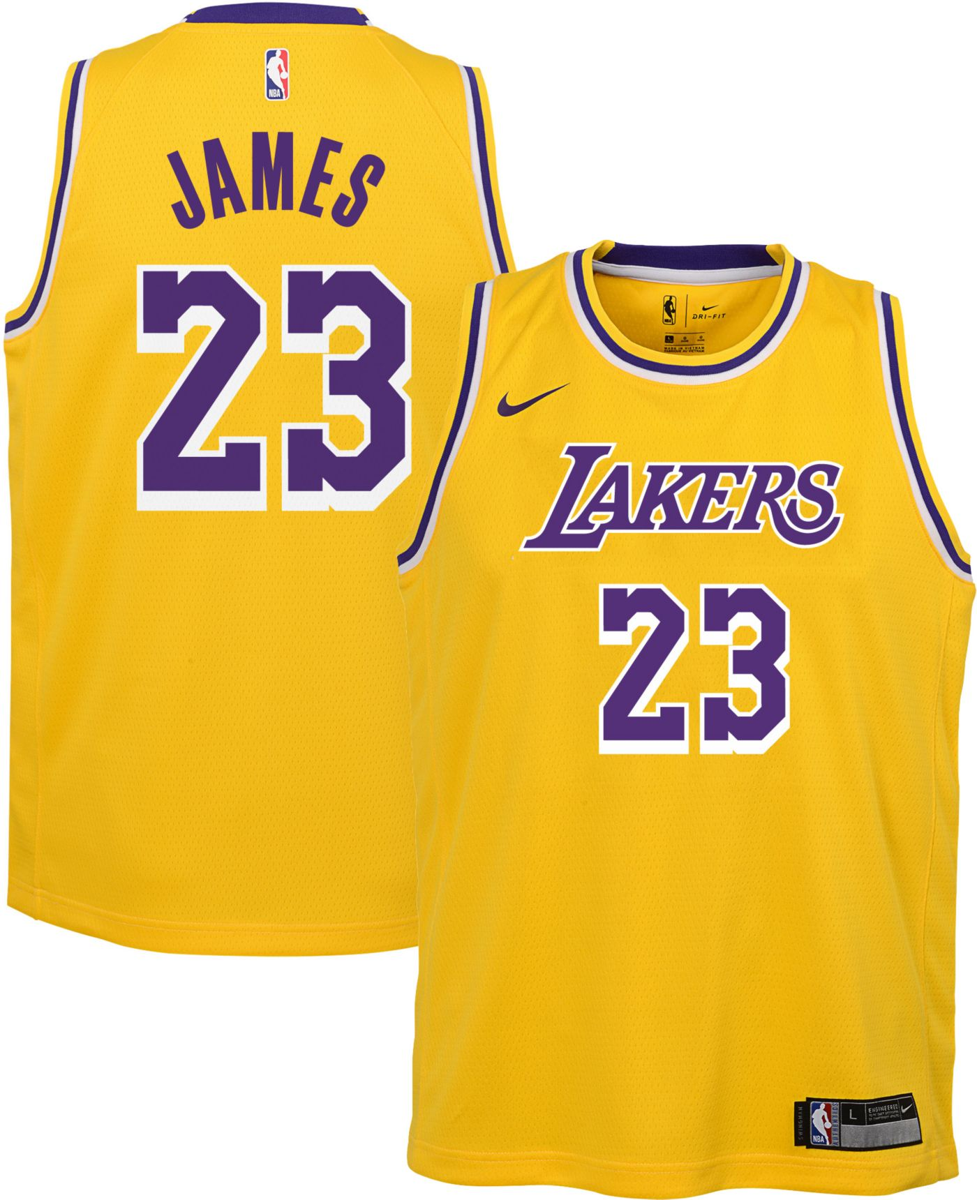 Nike Youth Los Angeles Lakers LeBron James Dri-FIT Gold Swingman Jersey