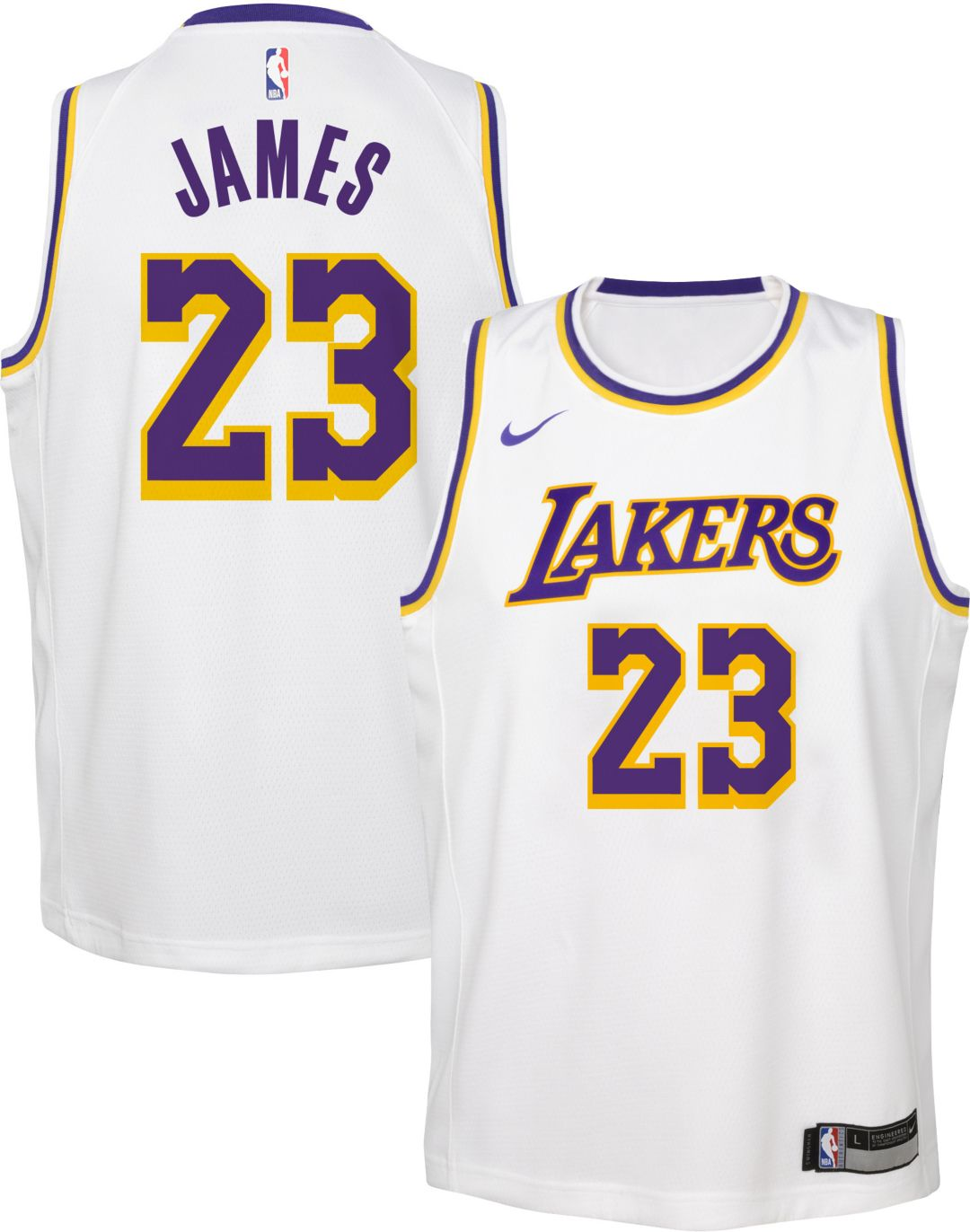 best loved 80a52 72b80 Nike Youth Los Angeles Lakers LeBron James Dri-FIT White Swingman Jersey
