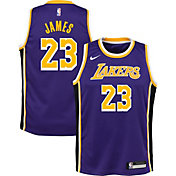 Nike Youth Los Angeles Lakers LeBron James Dri-FIT Purple Statement Swingman Jersey
