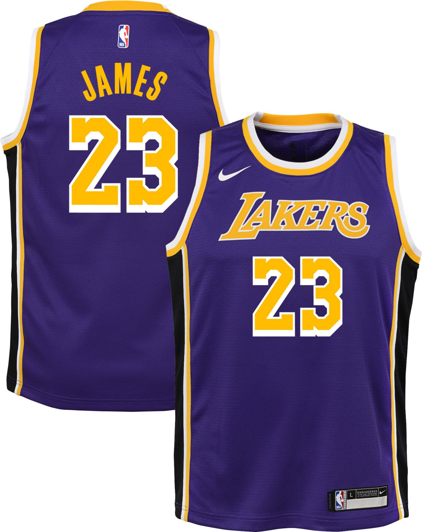 Nike Youth Los Angeles Lakers LeBron James Dri-FIT Statement Purple Swingman Jersey