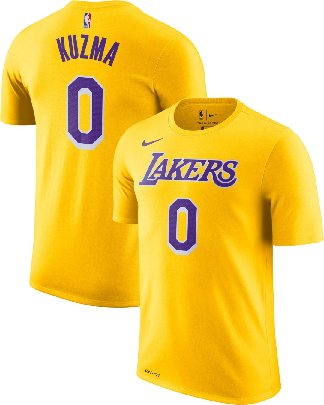 best website 91ae5 6f281 Nike Youth Los Angeles Lakers Kyle Kuzma #0 Dri-FIT Gold T-Shirt