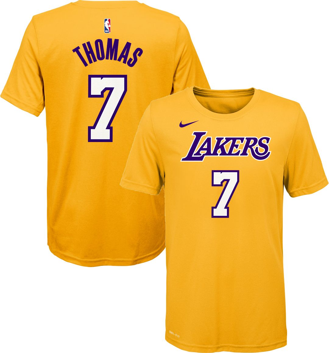best service 1bbd4 5e287 Nike Youth Los Angeles Lakers Isaiah Thomas #7 Dri-FIT Yellow T-Shirt