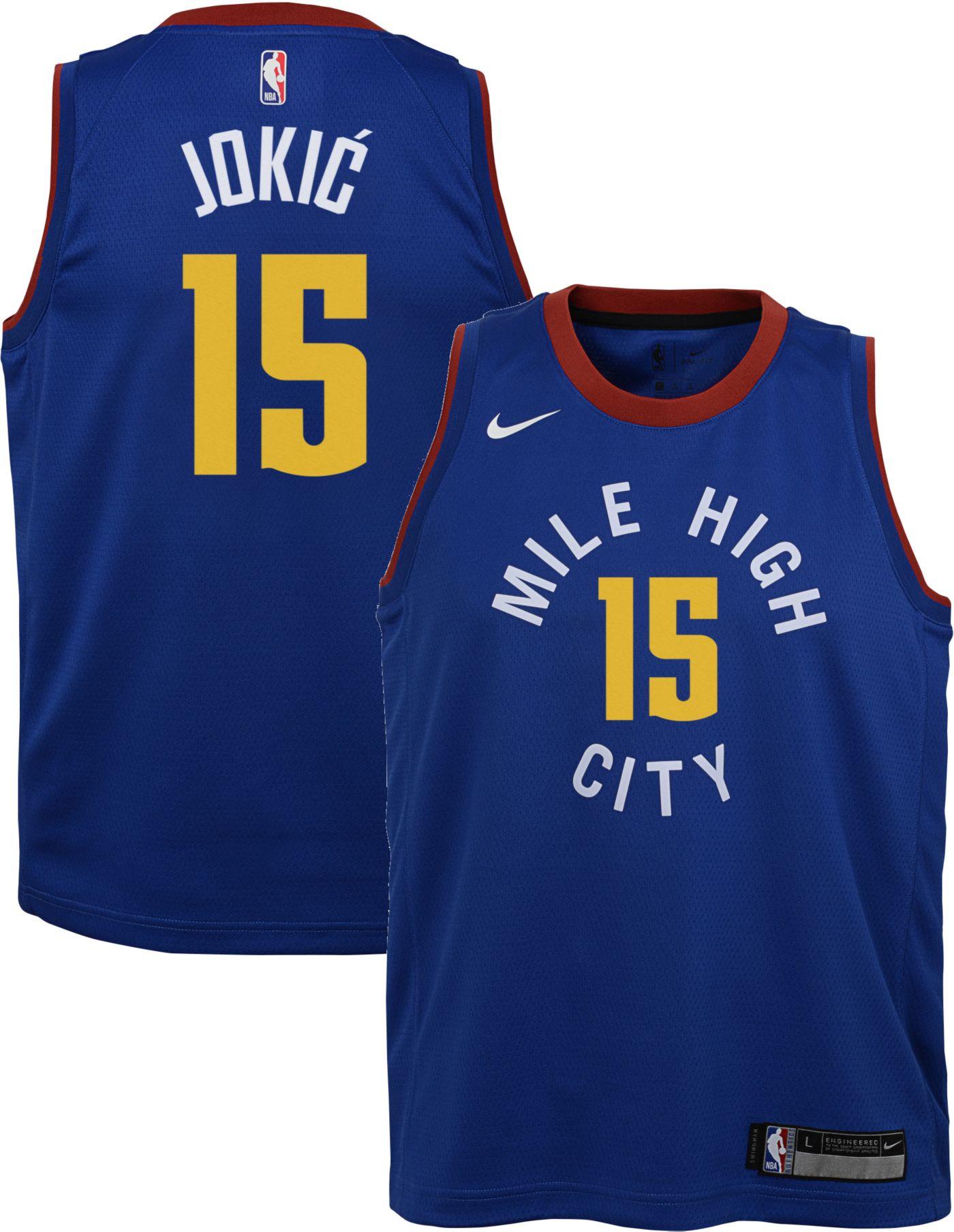 Nike Youth Denver Nuggets Nikola Jokic #15 Royal Dri-FIT Statement Swingman Jersey