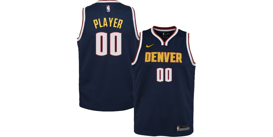 buy popular 1e026 45ab3 Nike Youth Full Roster Denver Nuggets Navy Dri-FIT Swingman Jersey