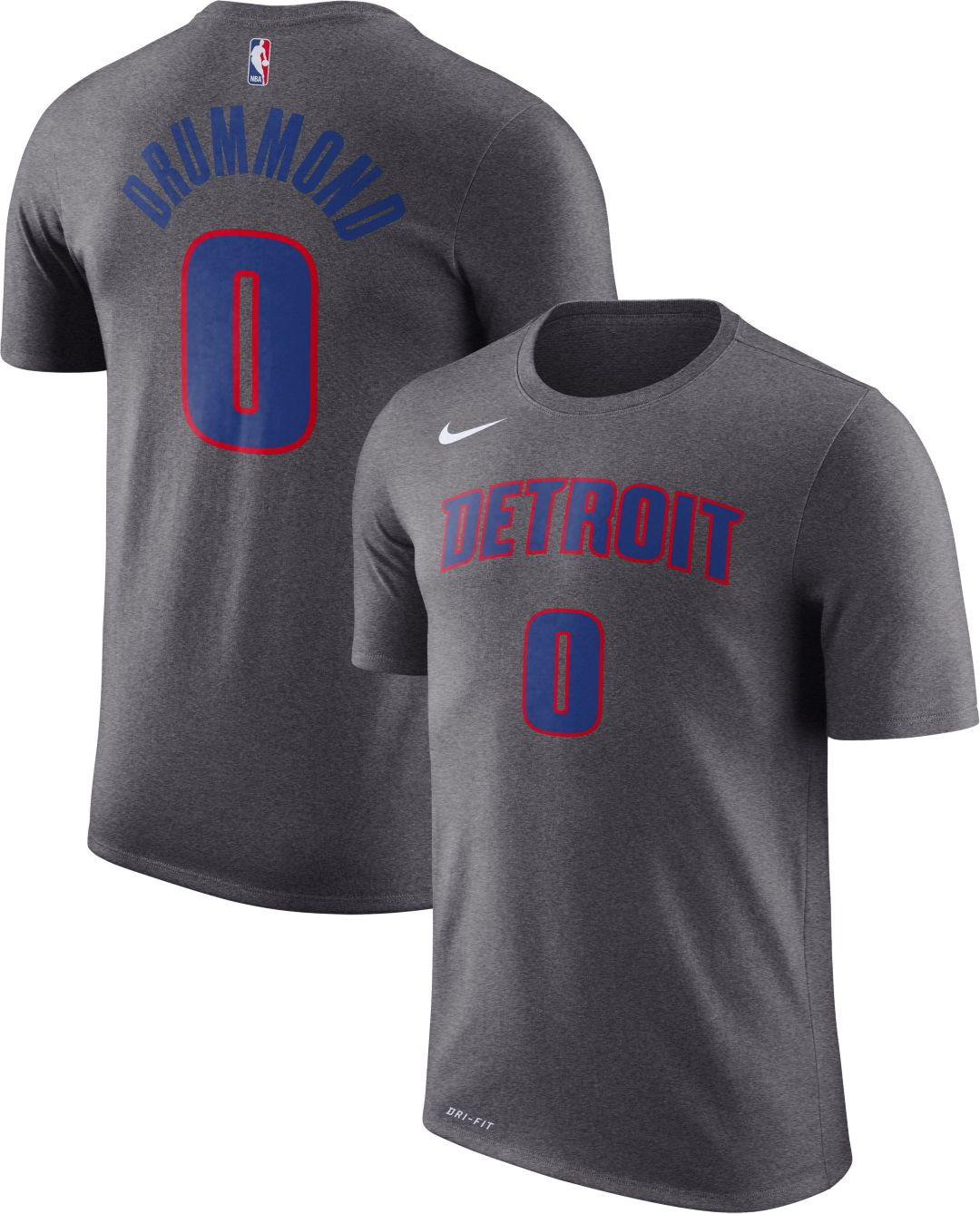 competitive price 13dc2 cb51c Nike Youth Detroit Pistons Andre Drummond #0 Dri-FIT Grey T-Shirt