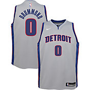 Nike Youth Detroit Pistons Andre Drummond #0 Grey Dri-FIT Swingman Jersey