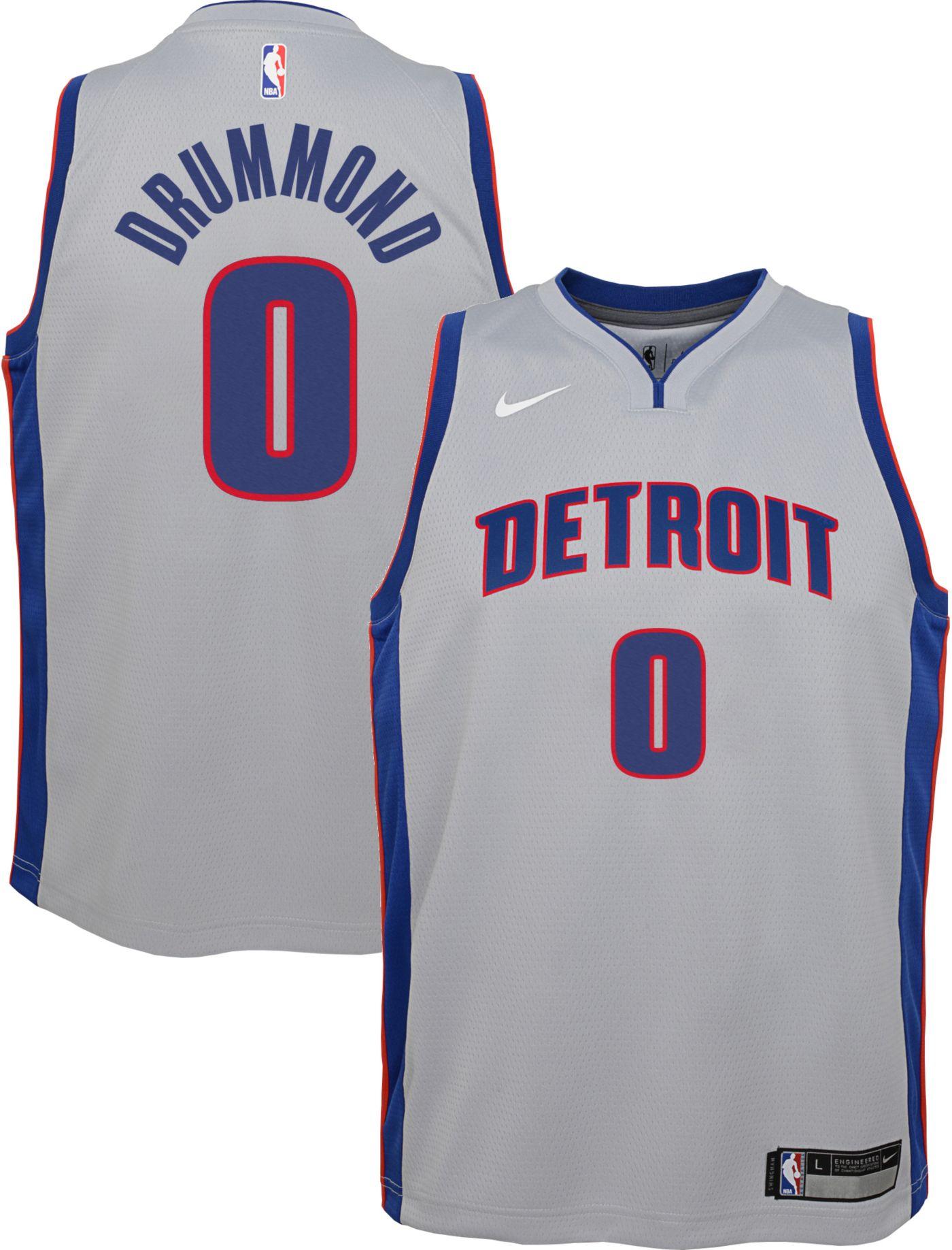 Nike Youth Detroit Pistons Andre Drummond #0 Grey Dri-FIT Swingman Jersey