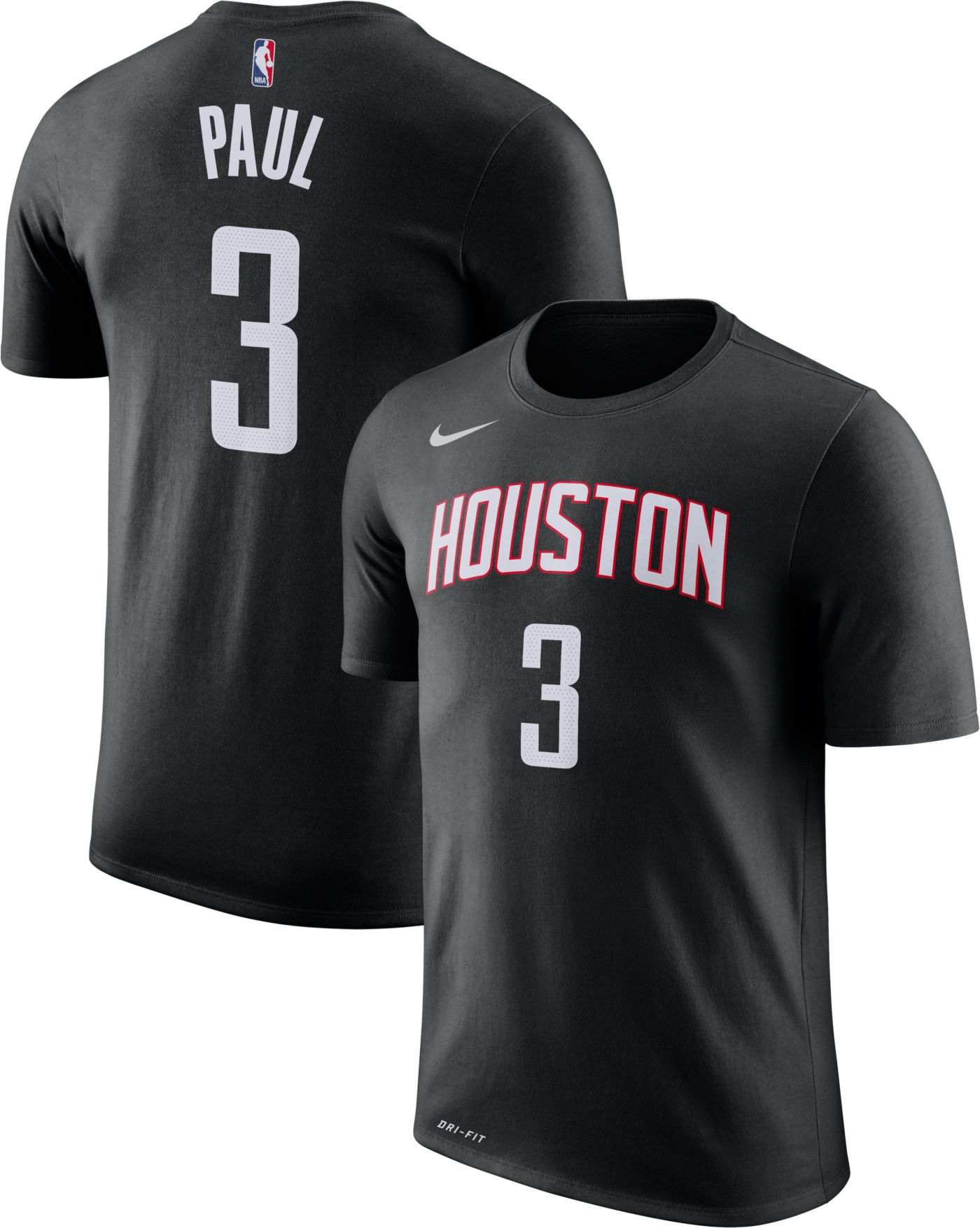 Nike Youth Houston Rockets Chris Paul #3 Dri-FIT Black T-Shirt