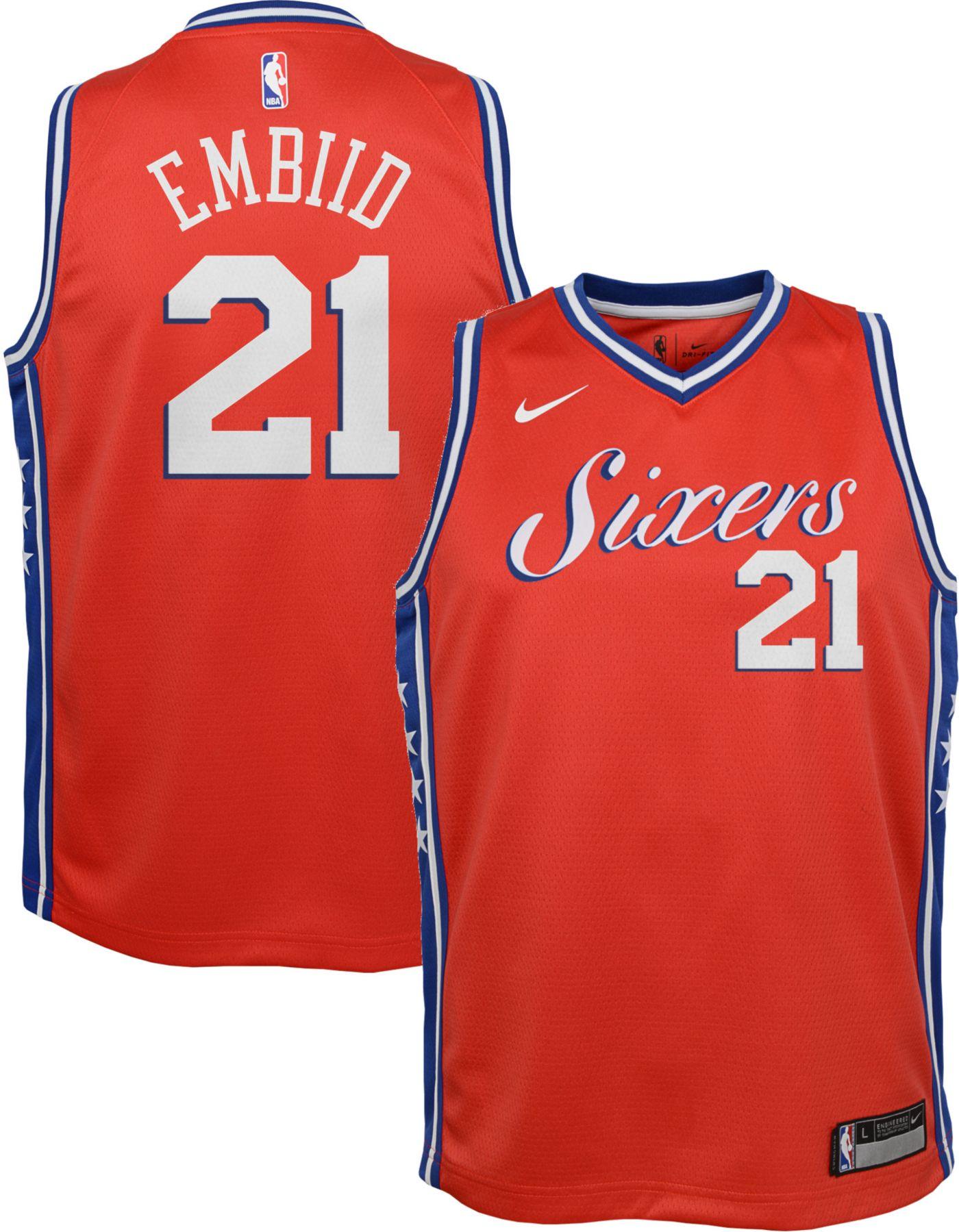 Nike Youth Philadelphia 76ers Joel Embiid Dri-FIT Statement Swingman Jersey