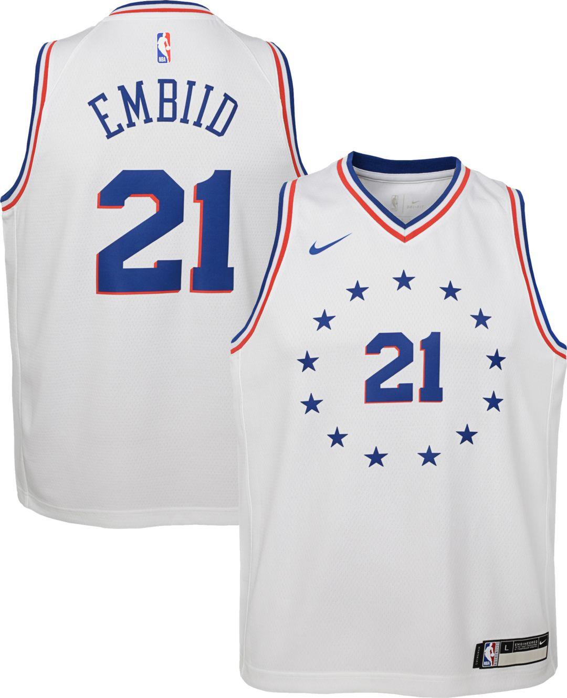 5de3972d0 Nike Youth Philadelphia 76ers Joel Embiid Dri-FIT Earned Edition Swingman  Jersey 1