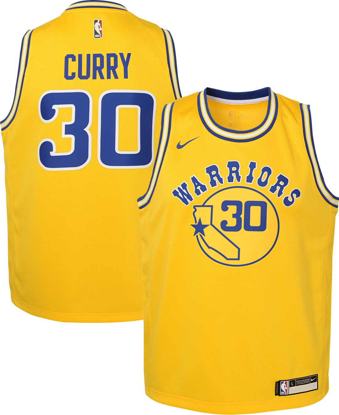 63edaab426d Nike Youth Golden State Warriors Steph Curry Dri-FIT Hardwood Classic  Swingman Jersey 1