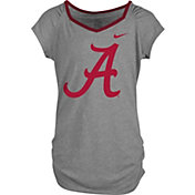 Nike Girls' Alabama Crimson Tide Grey Raglan V-Neck T-Shirt