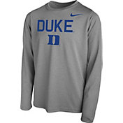 Nike Youth Duke Blue Devils Grey Legend Core Long Sleeve Shirt
