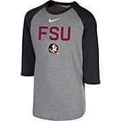 Nike Youth Florida State Seminoles Grey 3/4 Sleeve  Raglan T-Shirt
