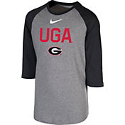 Nike Youth Georgia Bulldogs Grey 3/4 Sleeve  Raglan T-Shirt
