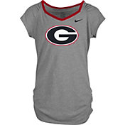 Nike Girls' Georgia Bulldogs Grey Raglan V-Neck T-Shirt