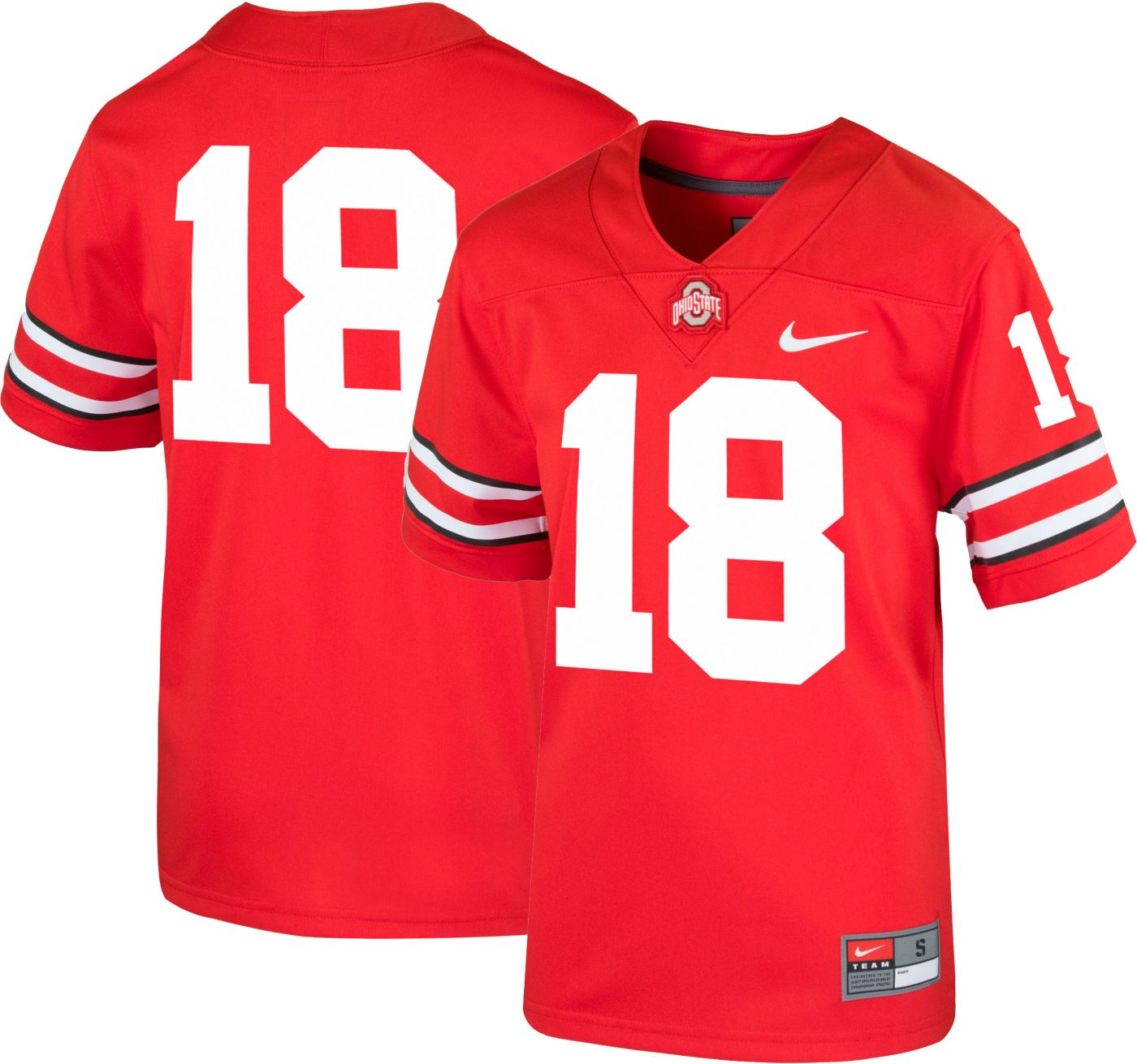 Nike Youth Ohio State Buckeyes #18 Scarlet Game Football Jersey