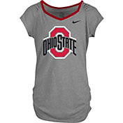 Nike Girls' Ohio State Buckeyes Gray Raglan V-Neck T-Shirt