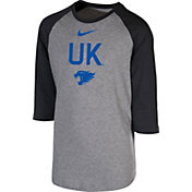 Nike Youth Kentucky Wildcats Grey 3/4 Sleeve  Raglan T-Shirt