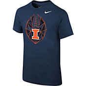 Nike Youth Illinois Fighting Illini Blue Football Icon T-Shirt